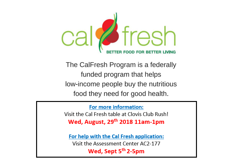 Be sure to visit the CalFresh table at today's Club Rush