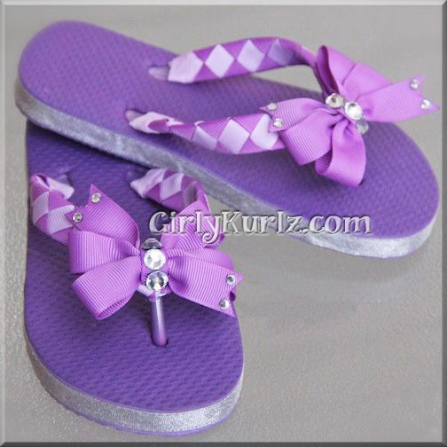 e83f6427f Purple Woven Flip Flops to Match our Sofia the First Headband 3 Bows in 1  Set!