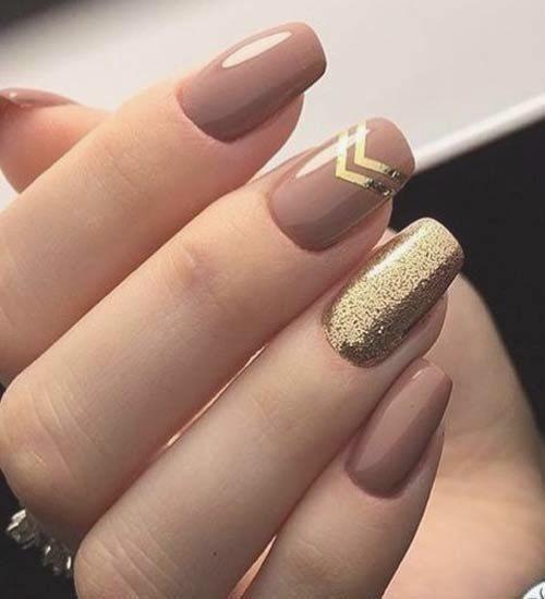Vnude nagels met gouden glitter #Acryl #Nagel #lakken #art #grijs #Nagelwin,Vnude nagels met …