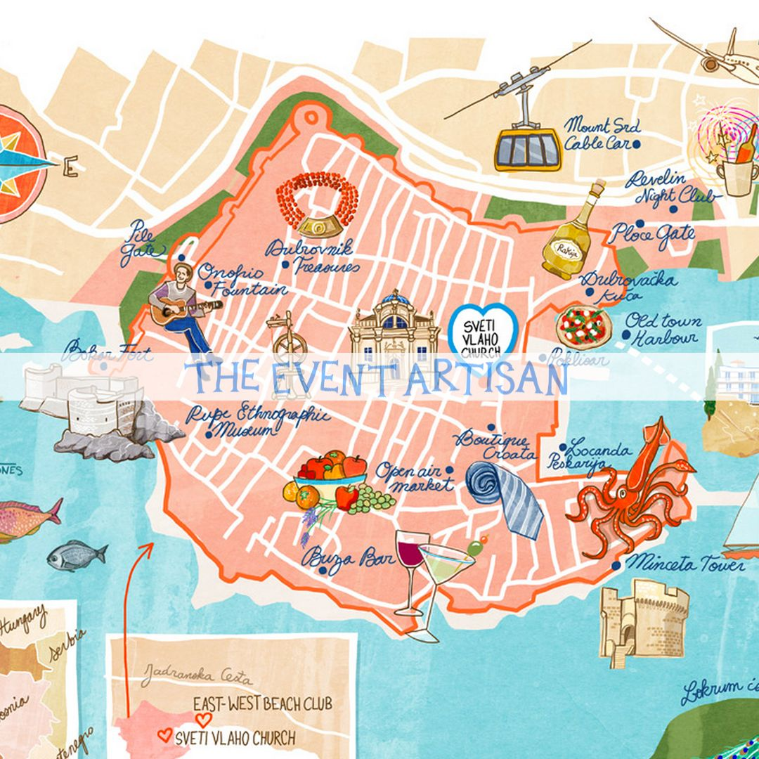 Personalised map of dubrovnik croatia perfect as part of your personalised map of dubrovnik croatia perfect as part of your invitation and wedding website gumiabroncs Images