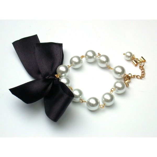 Carrie Bradshaw Inspired Pearl Bracelet In Black Satin Ribbon ❤ liked on Polyvore