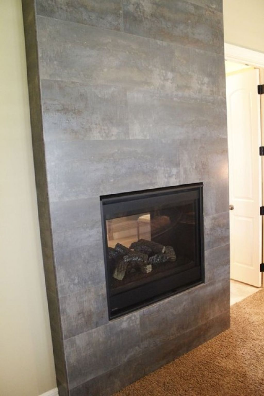 tile fireplace modern indoor fireplaces kansas city by kenny u0027s
