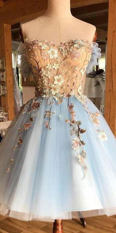 A Line Sweetheart Blue Short Homecoming Dresses with Flowers OHM018