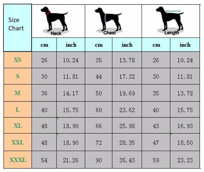 Dog Clothes Size Chart Pet It Apparel Breed Weight Crochet Dog Sweater Dog Clothes Diy Crochet Dog Clothes