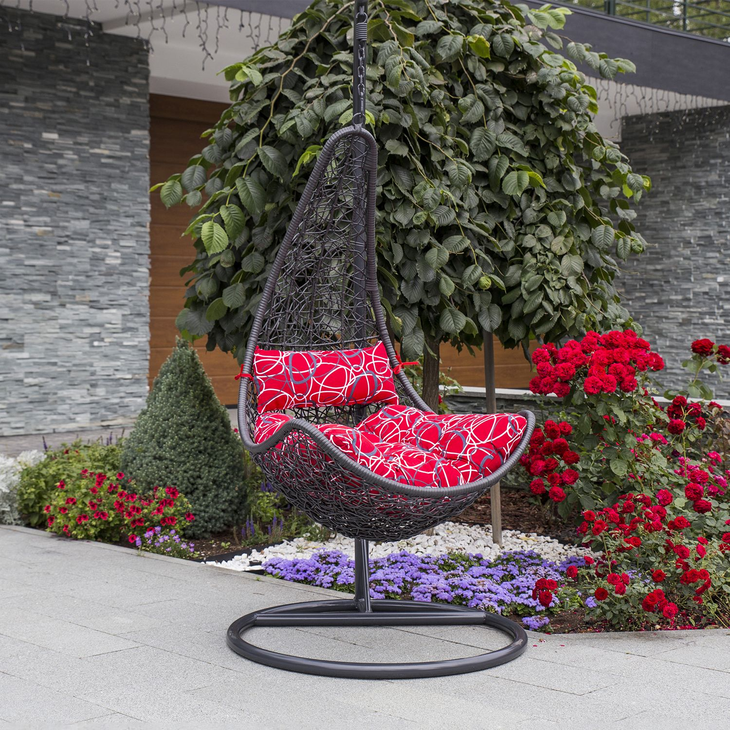 Hanging chair COCO 120x105xH195cm, dark grey plastic