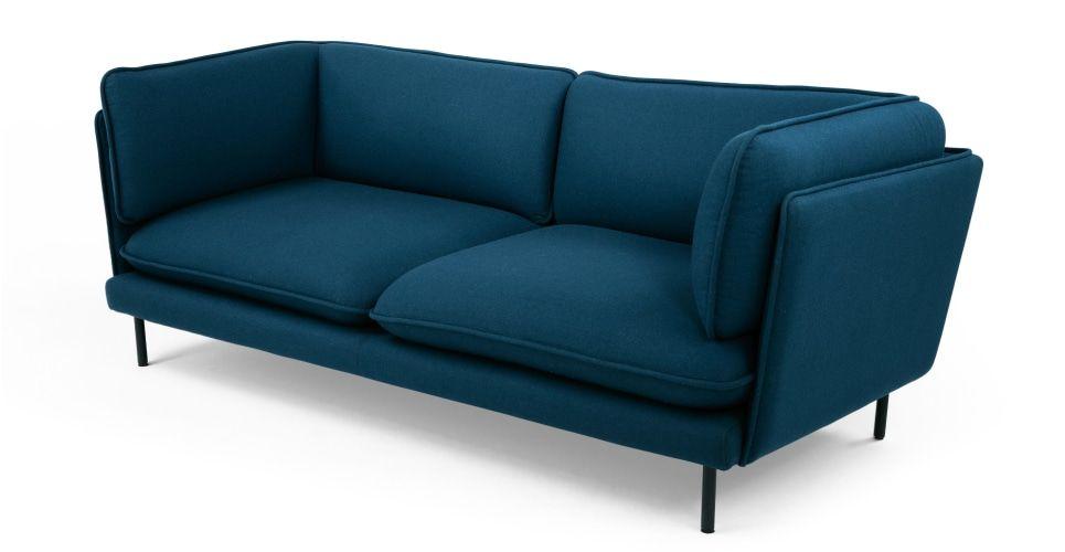 Wes, canapé trois places, bleu pétrole | Salons