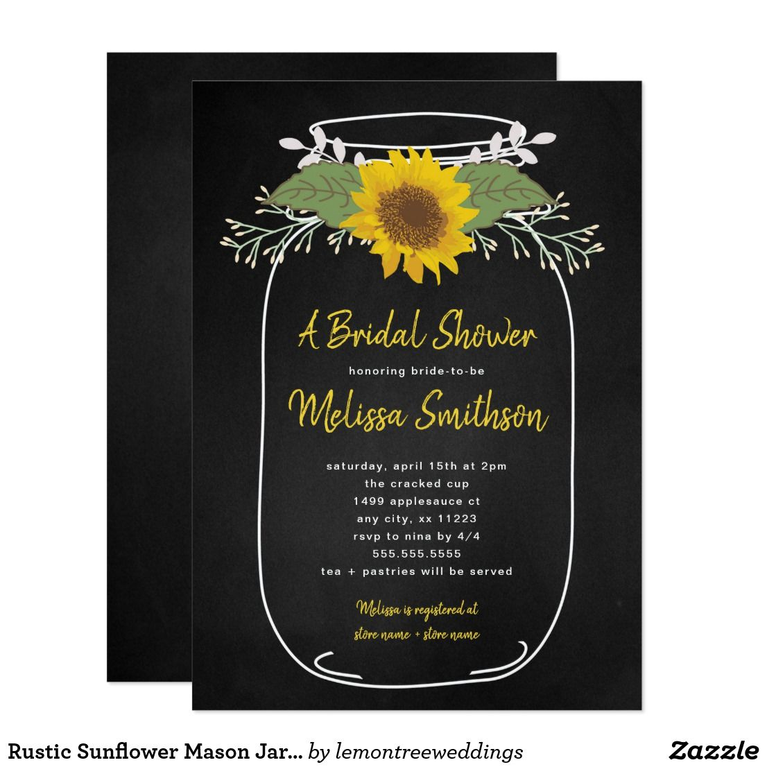 Rustic Sunflower Mason Jar Bridal Shower Invite Bridal Showers
