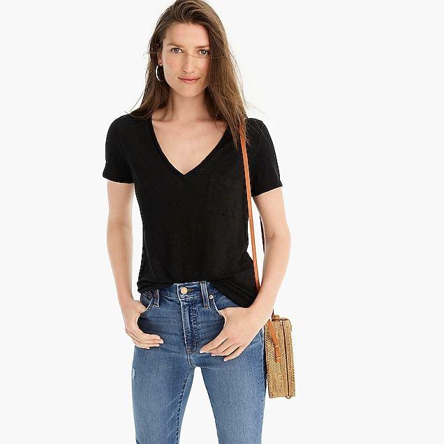 ab8f59f87fea79 Linen V-neck pocket T-shirt : Women tee | J.Crew | Closet in 2019 ...