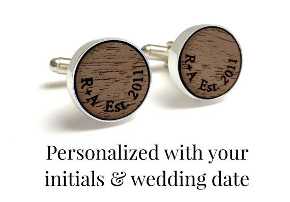 A perfect 5 year anniversary gift for him- cufflinks personalized with your initials and wedding date, on Walnut Wood. Design his now!