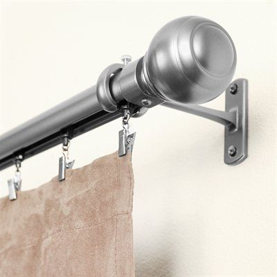 Allen Roth Brushed Pewter Contemporary Metal Traverse Curtain