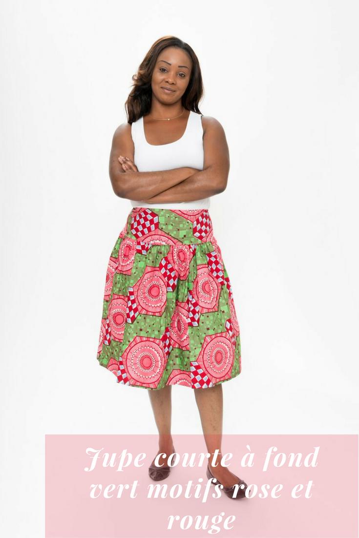 Jupe Courte A Fond Vert Motifs Rose Et Rouge Piece Unique Skirts Fashion Midi Skirt
