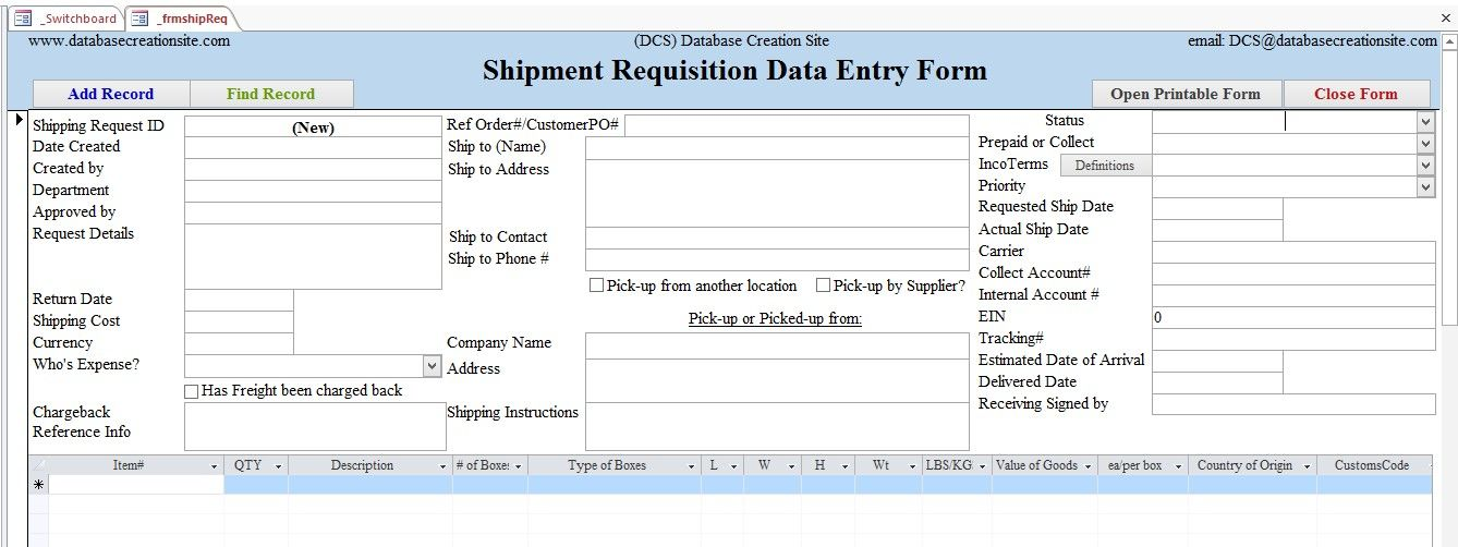 Keep track of your courier shipments in this database form One form - requisition form in pdf