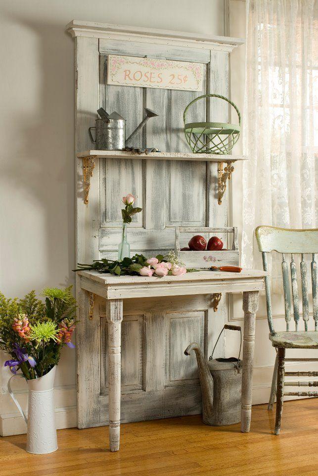 riutilizzare vecchie porte in stile shabby chic tavolo da cucina ...