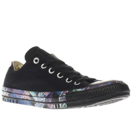 womens converse black & pink all star floral tape ox trainers