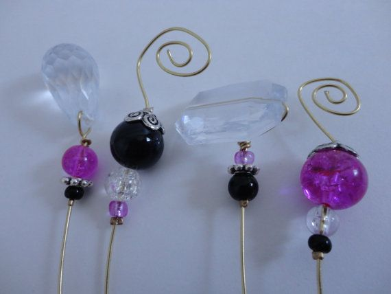 4 Stem Wine Charms Pink and Black by ThereIsNoOneLikeYou on Etsy, $6.00