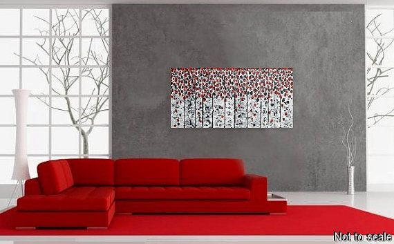 Birch Tree Painting Abstract Acrylic Painting on by acrylkreativ