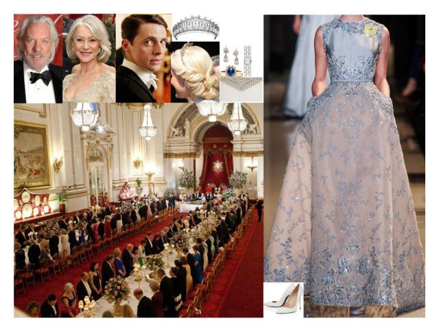 """FLASHBACK: Attending the Queen's annual diplomatic reception at Buckingham Palace"" by lady-maud ❤ liked on Polyvore featuring Etiquette, Elie Saab, Elsa Peretti, Stuart Weitzman and Jimmy Choo"