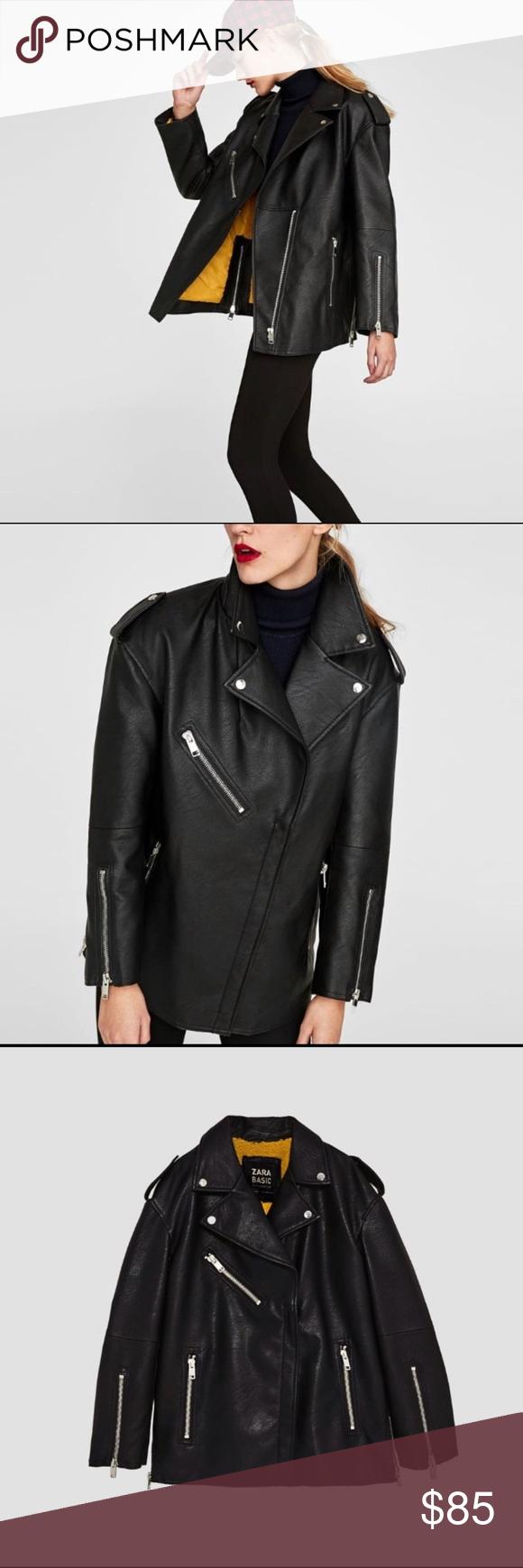Zara Oversized Leather Jacket Zara Leather Jacket Faux Leather Moto Jacket Leather Jacket [ 1740 x 580 Pixel ]