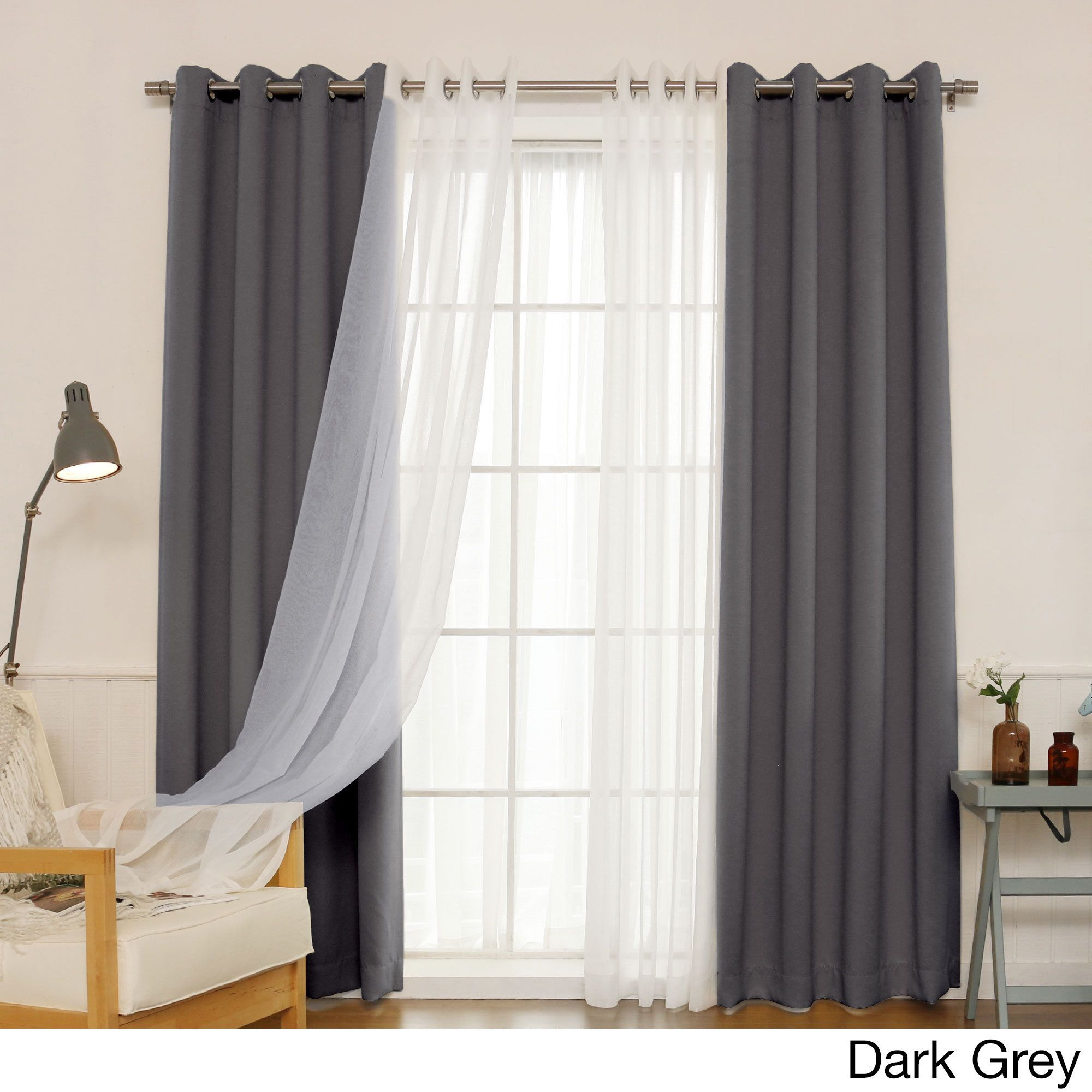 Dark gray curtains - Aurora Home Mix Match Curtains Blackout And Muji Sheer 84 Inch Silver Grommet 4 Piece Curtain Panel Pair Vapor Grey Size 52 X 84 Polyester Solid