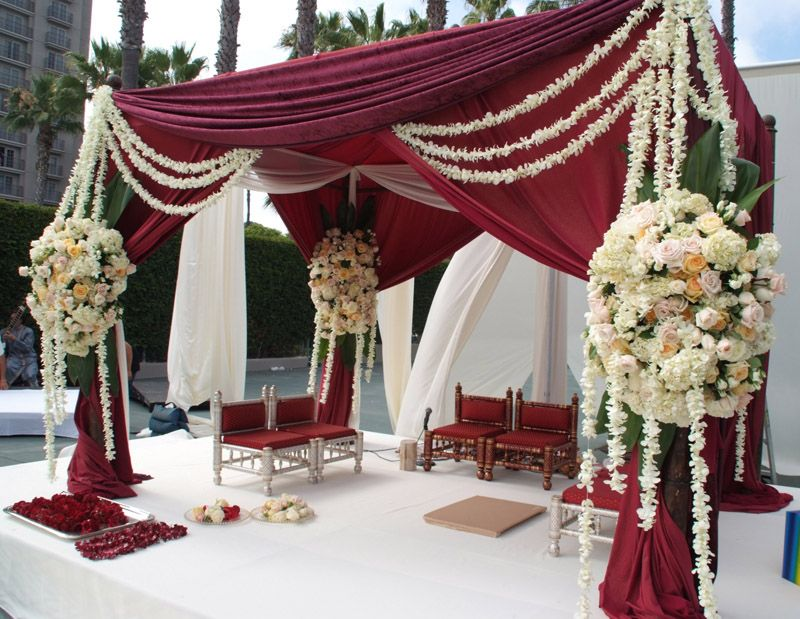 Burgundy and cream mandap decor ceremony decor for Burgundy wedding reception decorations