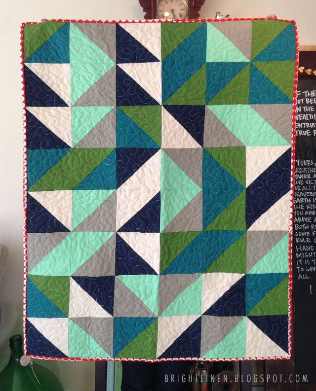 Half Square Triangle Baby Boy Quilt Bright Linen Quilting