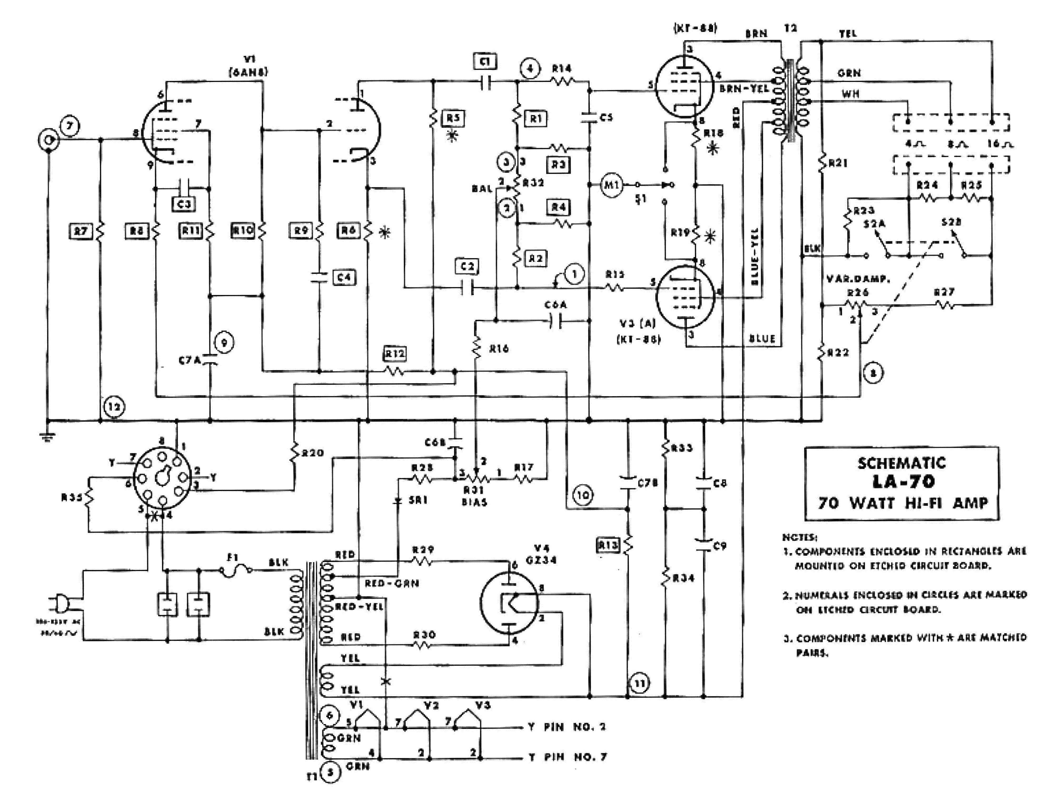 Lafayette Kt 250 A Kit Amplifier Sch Service Manual