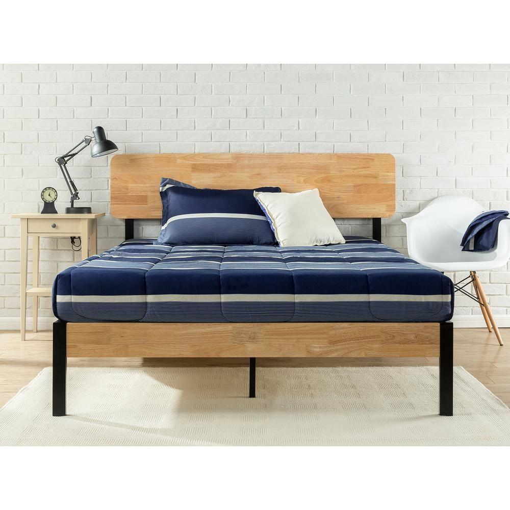 Zinus Tuscan Metal and Wood Black Twin Platform Bed | Platform beds ...
