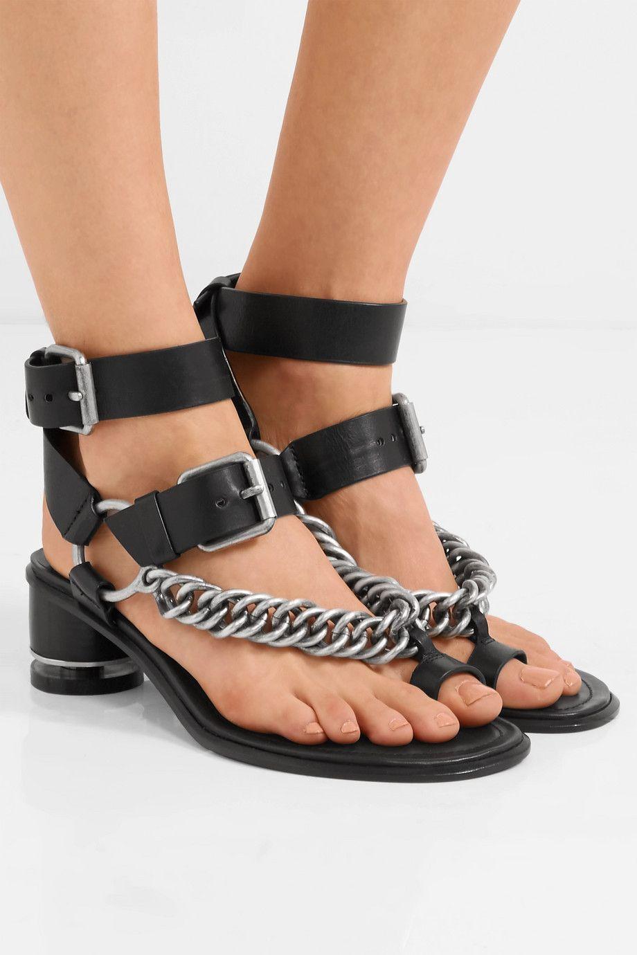 Jada Chain-embellished Leather Sandals - Black Alexander Wang Funt2GP