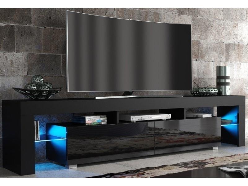 Meuble Tv Spider Big A Led En Noir Mat Avec Portes Noir Laque 200 Cm En 2020 Meuble Tv Noir Meuble Tele Moderne Meuble Tv