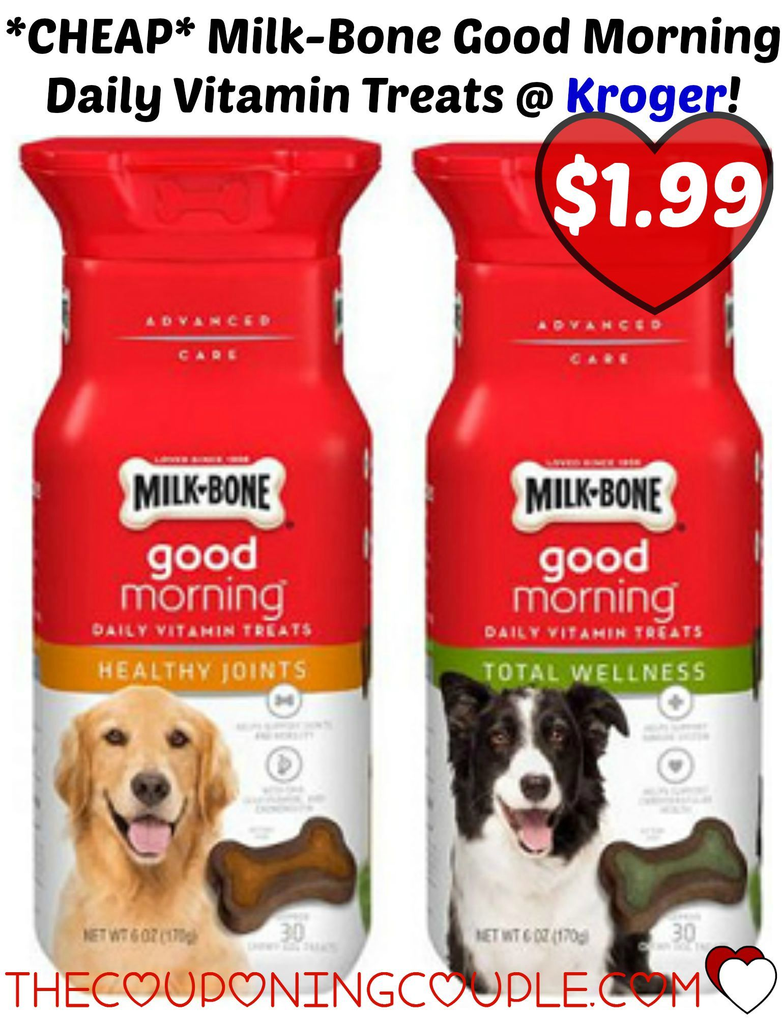 $1/1 Milk-Bone Good Morning Daily Vitamin Treats Coupon + Kroger Deal! Head over and print this coupon to score these for just $1.99 a box at Kroger thru 9/15!  Click the link below to get all of the details ► http://www.thecouponingcouple.com/11-milk-bone-good-morning-daily-vitamin-treats-coupon-kroger-deal/ #Coupons #Couponing #CouponCommunity  Visit us at http://www.thecouponingcouple.com for more great posts!