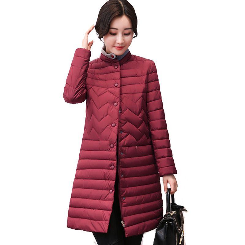2017 stand collar autumn long ladies coat parka slim padded women winter jacket solid black casacos de inverno feminino #Affiliate