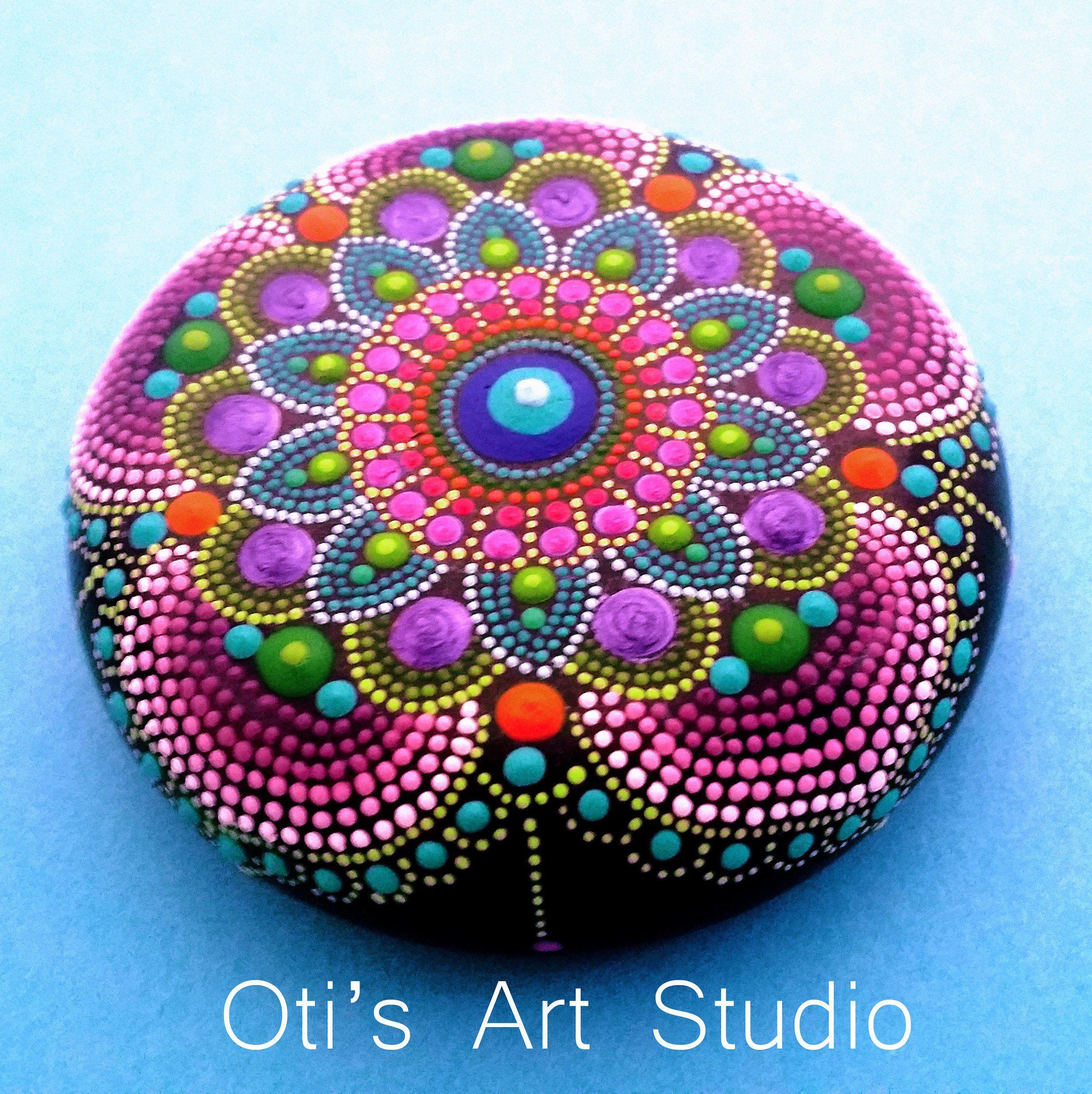 Mandala Stone- MAUVE MANDALA-Hand Painted | Mandala ...