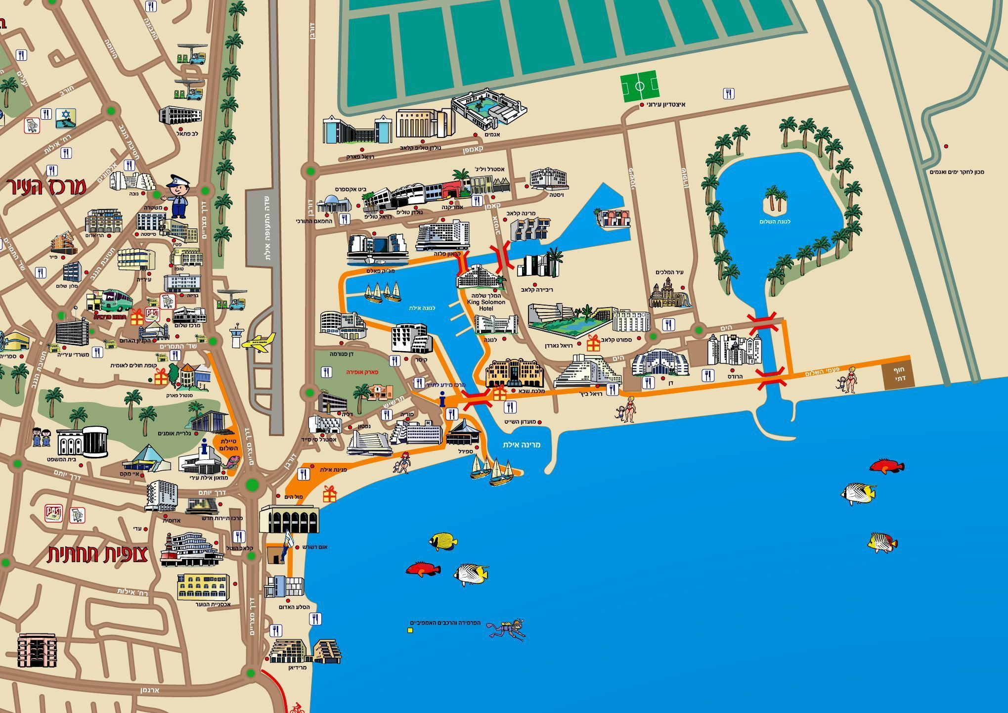 Maps for Eilat in Hebrew Touring Guides in Israel Pinterest