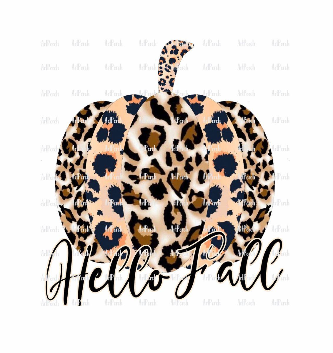 Hello Fall Leopard Print Pumpkin PNG Design for Instant