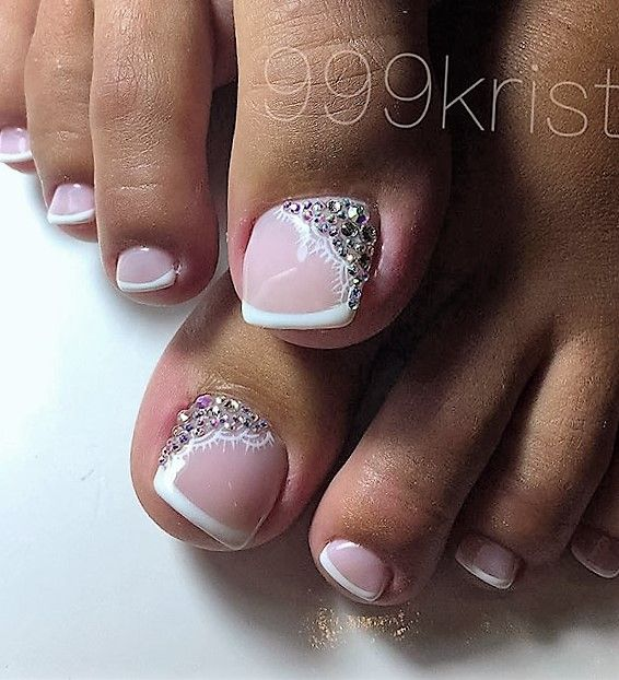 French Lace Rhinestone Toe NailArt