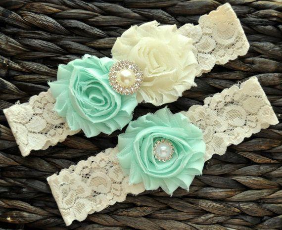 Wedding Garter, Bridal Garter Set, Mint Wedding Garter, Mint Bridal Garter, Ivory Lace Garter, Ivory Wedding Garter Belt, Mint Garter