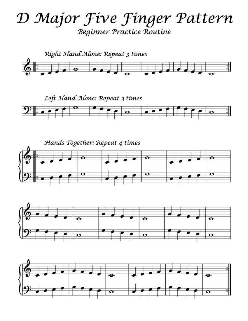 Free Sheet Music Here Is A Beginning Practice Routine Of D