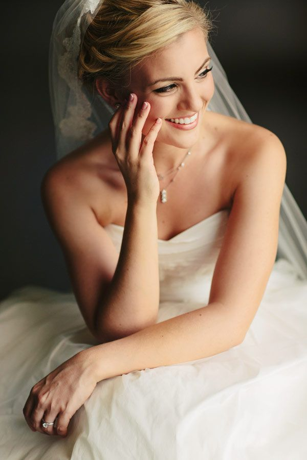 Strapless Wedding Gown With Lace Trimmed Veil