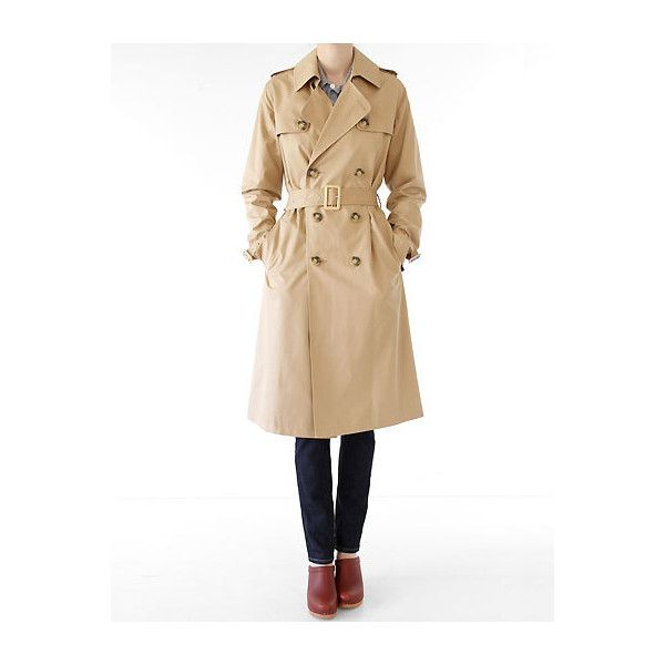 APC Trench Coat- Camel ($223) ❤ liked on Polyvore featuring outerwear, coats, women, camel double breasted coat, trench coat, camel trench coat, beige trench coat and cotton coat