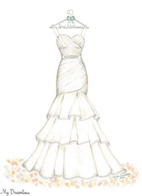 Dreamlines Wedding Dress Sketch Oneyearanniversarygift Anniversarygift Weddinggift MyDreamlines