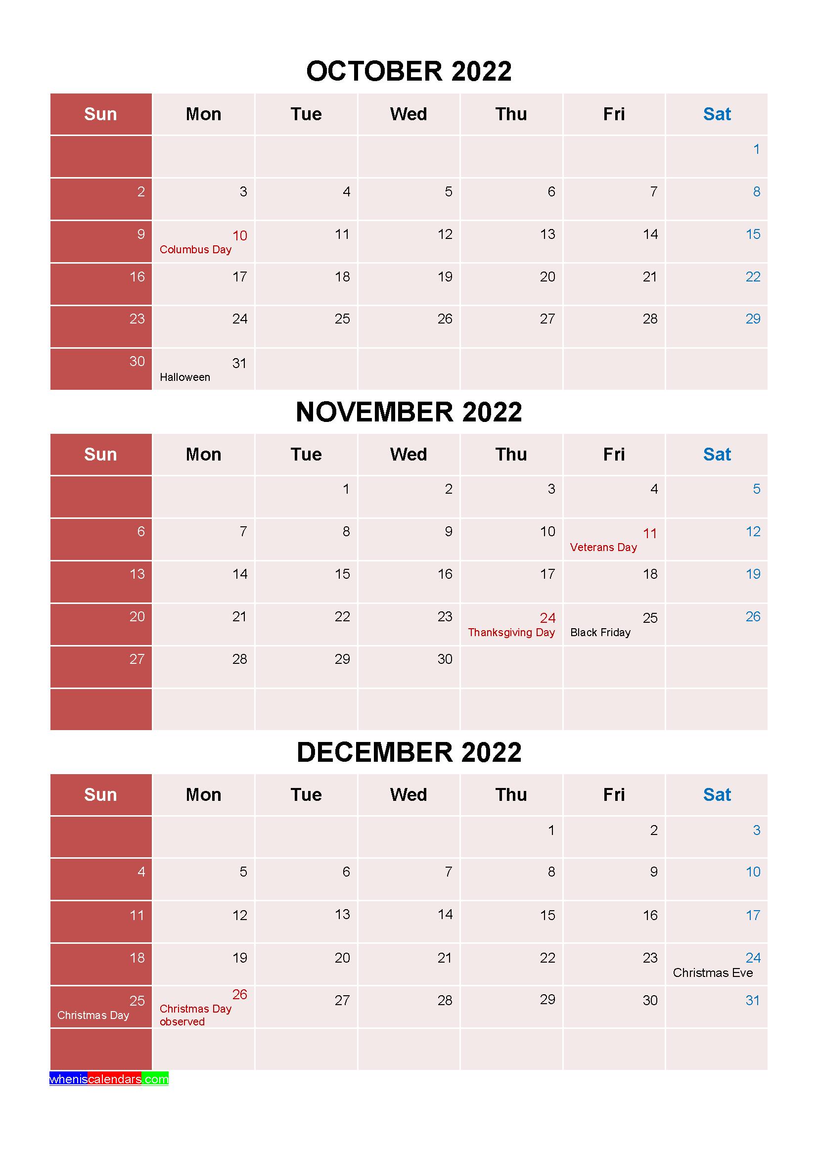 Calendar Of December 2022.Printable October November December 2022 Calendar With Holidays Four Quarters Calendar Printables Quarterly Calendar Calendar
