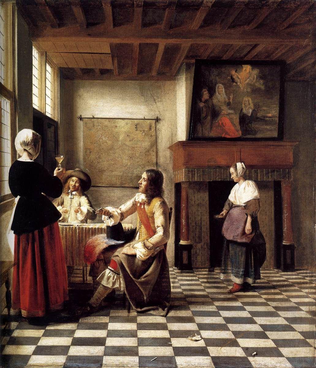 A Woman Drinking with Two Men, 1658, Pieter De Hooch . http://www.lib-art.com/artgallery/30553-a-woman-drinking-with-two-men-hooch-pieter-de.html