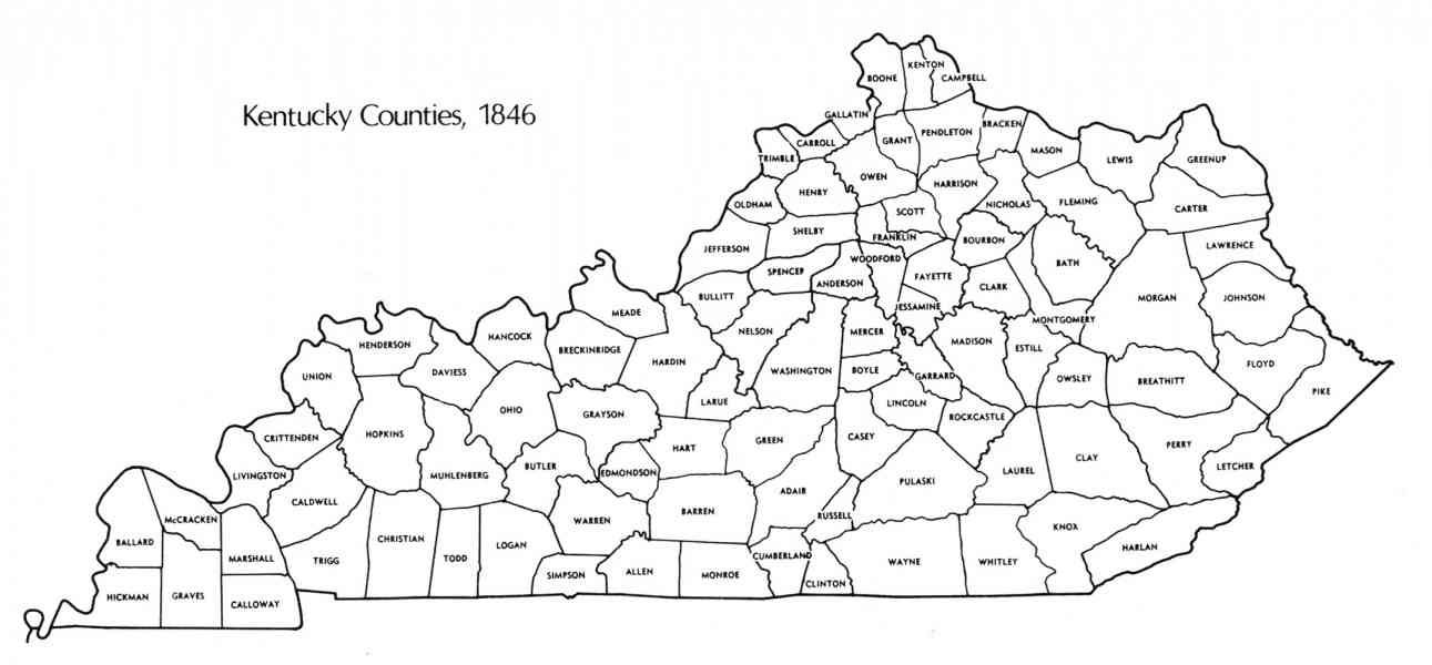 Map Counties Ky - HolidayMapQ.com ® | Cross stitch City&Country&State
