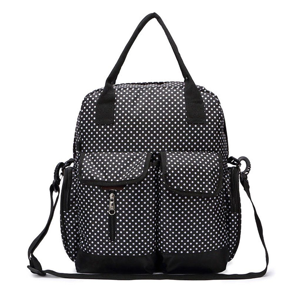 4152c54168a Hoxis Multifunction Polka Dots Baby Boom Backpack Diaper Bag (Black ...