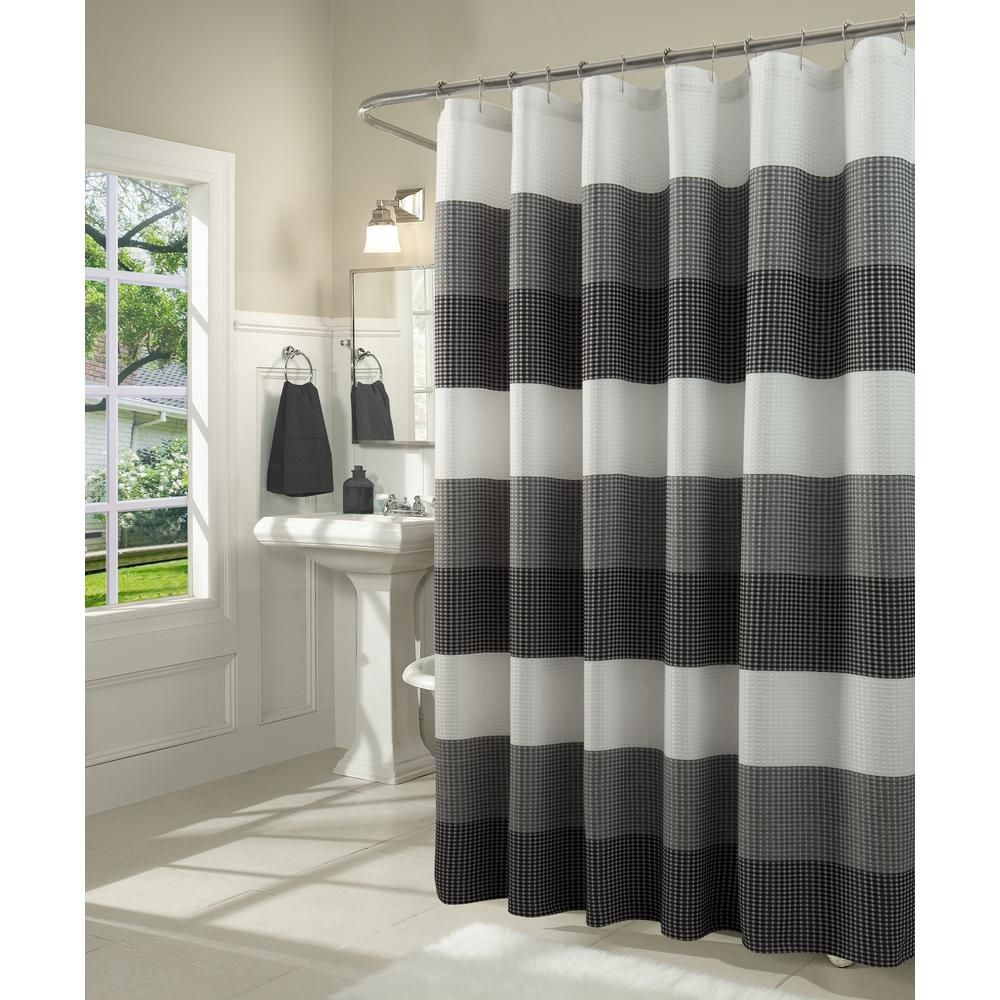 Dainty Home Ombre 70 In Black Waffle Weave Fabric Shower Curtain In 2020 Gray Shower Curtains Fabric Shower Curtains Ombre Shower Curtain