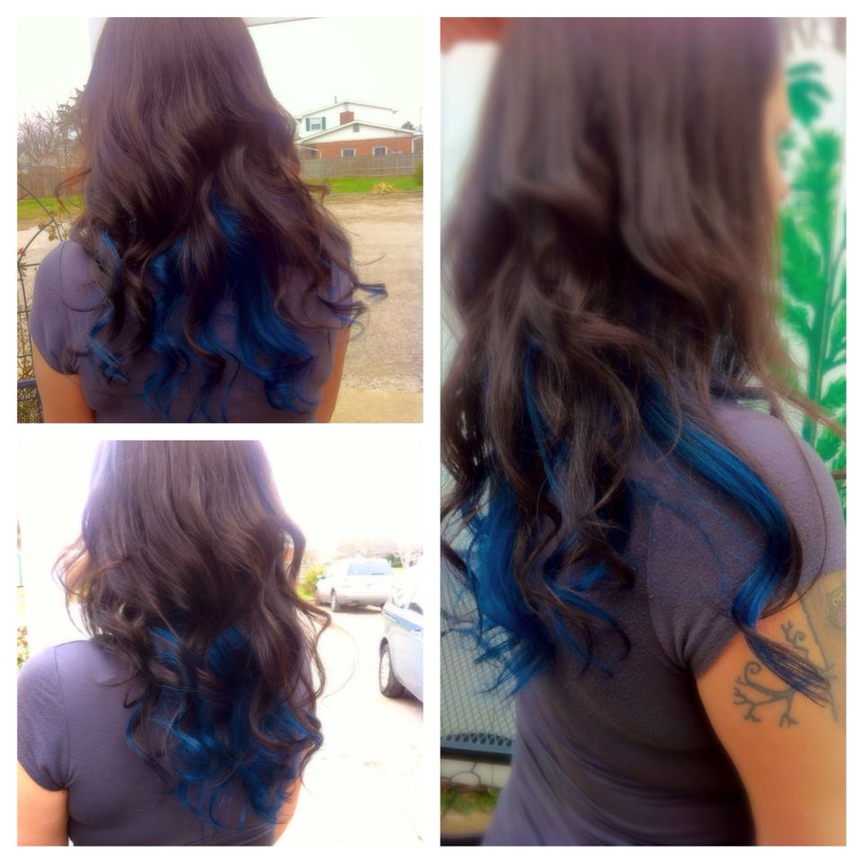 Dark Brown Hair With Blue Underneath Dyed Hair Blue Blue Brown Hair Blue Hair