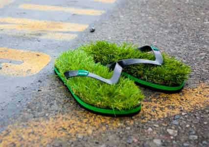 grass flip flops