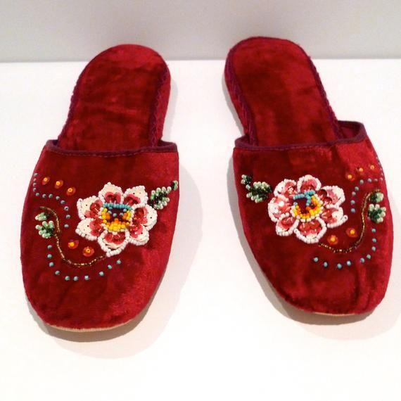 Beaded Floral Velvet Slippers Vintage Chinese Embroidered