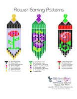 Printable or Downloadable Beaded Flowers Fringe Earrings bead graph
