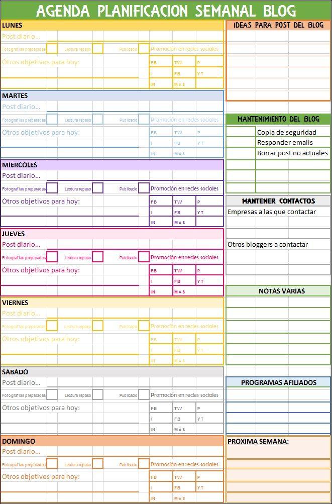 Plantilla Excel agenda semanal blog | Consultora | Pinterest ...